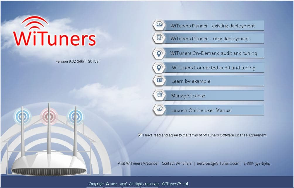 WiTuners Optimizer Main Menu Page