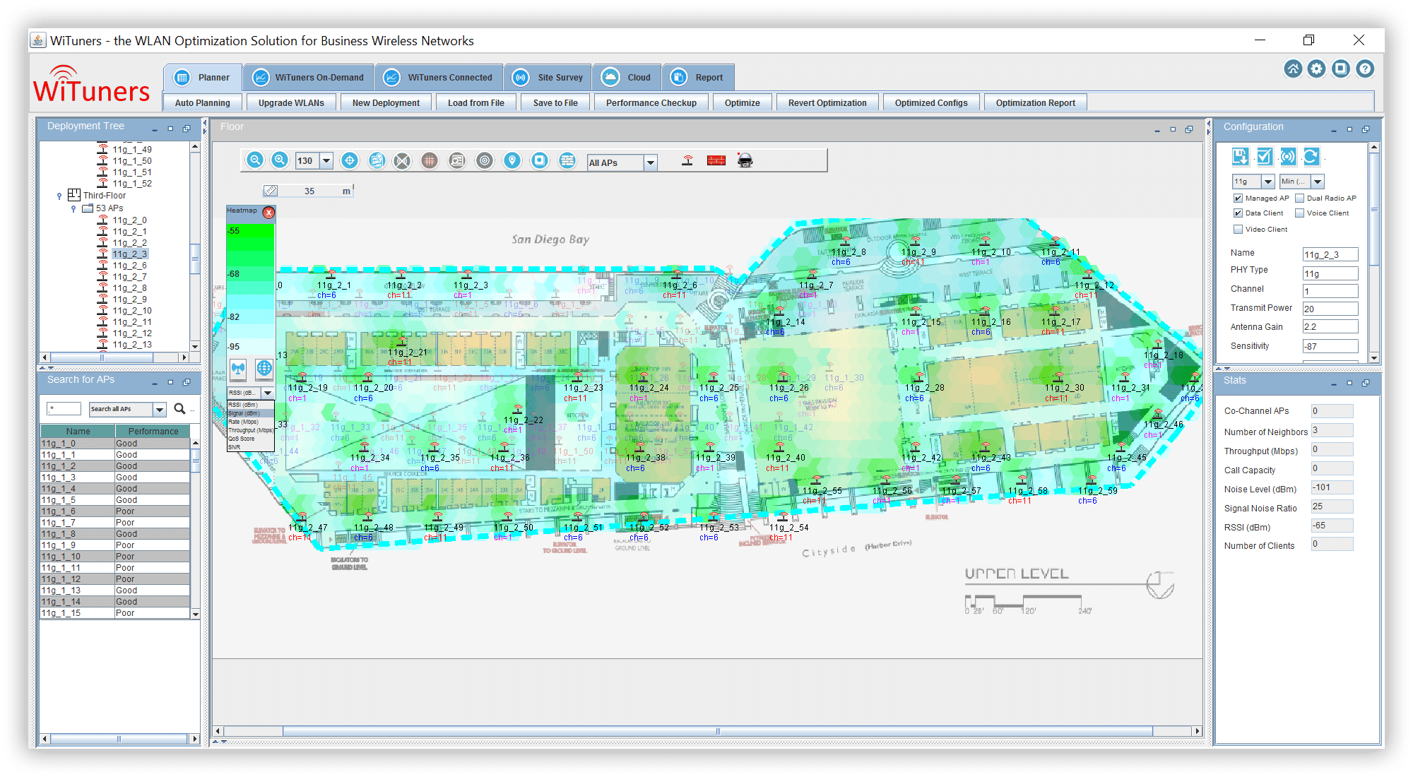 Heat maps of various types showing WLAN performance WiFi planning software