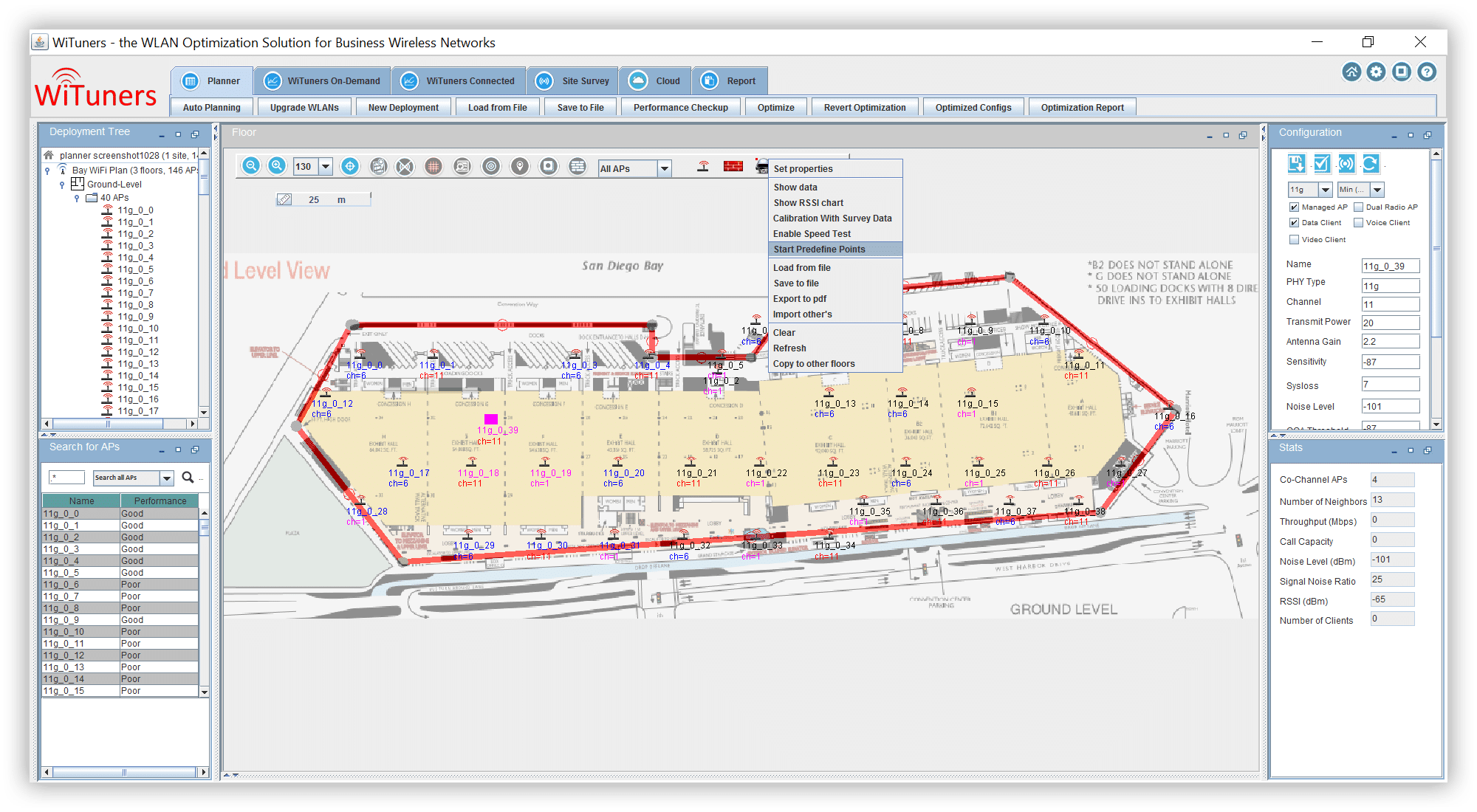 start-predefine-survey-point in WiFi planning software