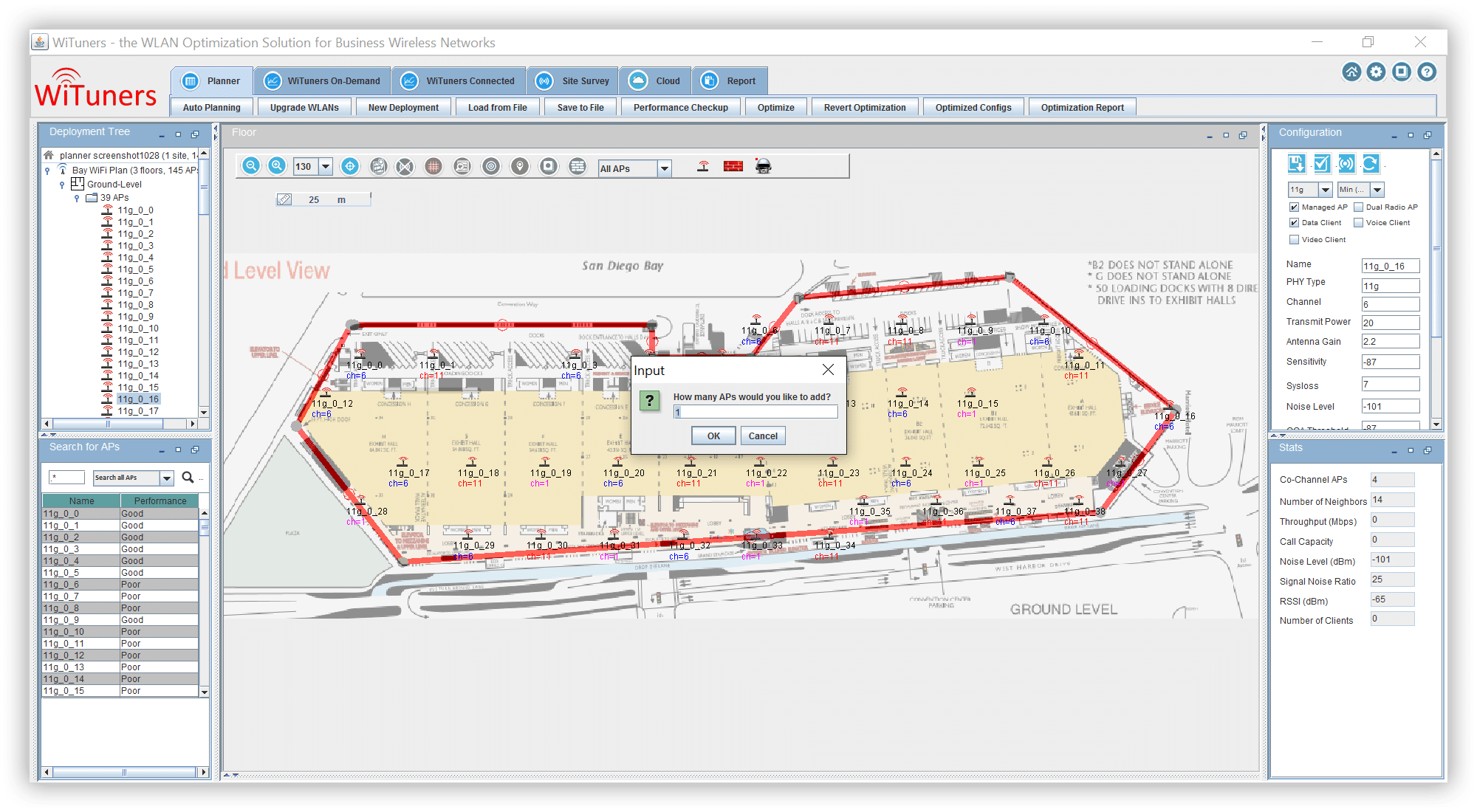 Place or add APs with drag and drop in WiFi planning software
