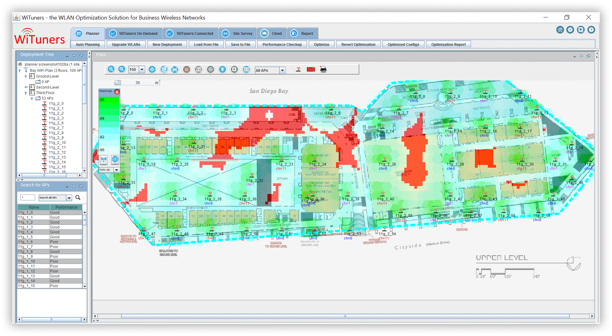 Coverage hole detection for both uplink and downlink WiFi planning software