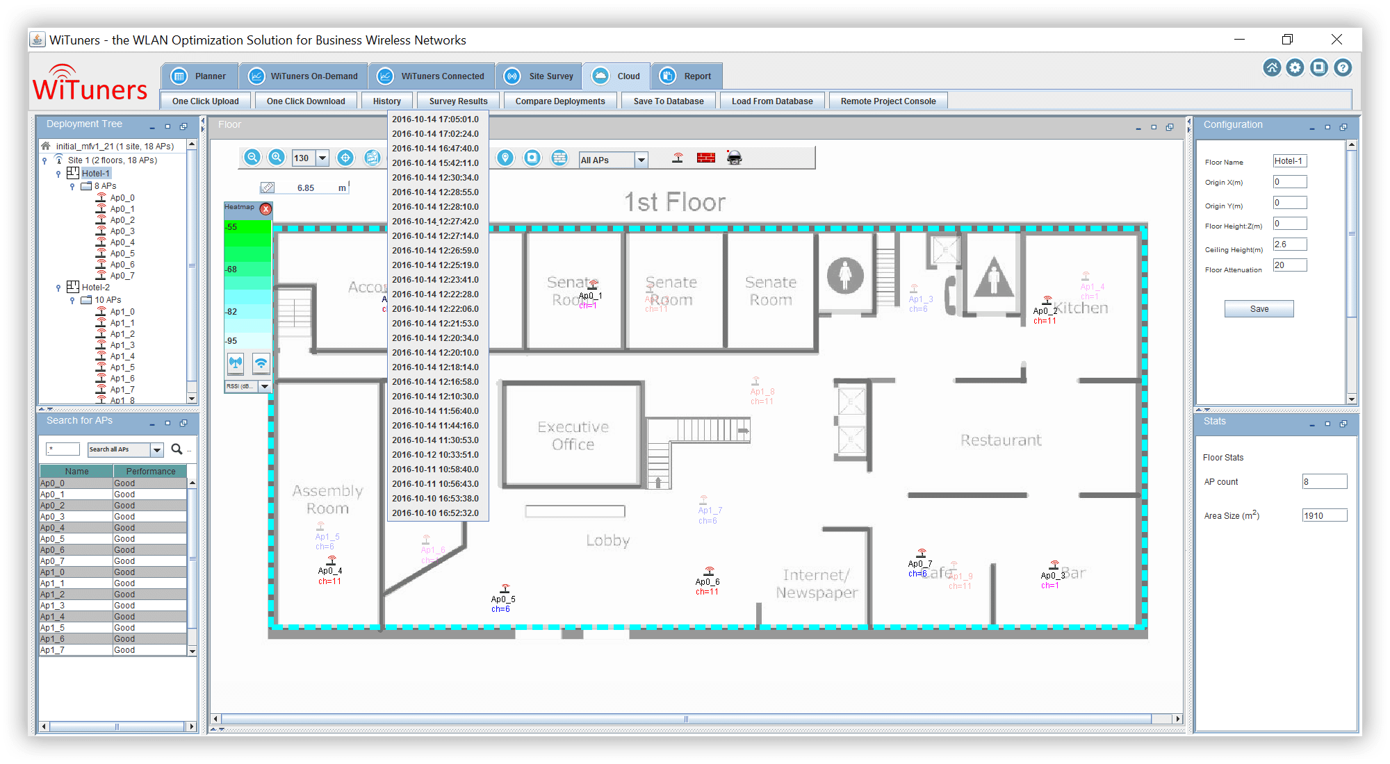 Show revisions of a deployment plan in WiFi planning software