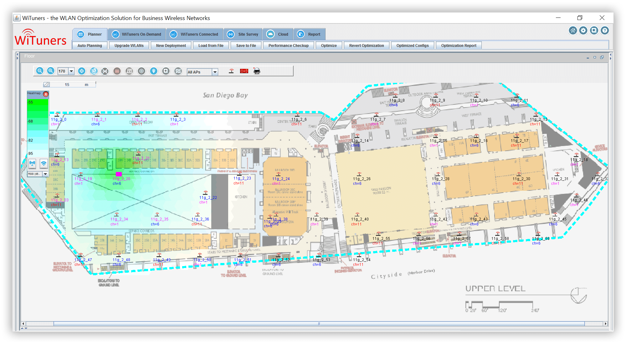 Heat maps shown in both AP views and client views WiFi planning software