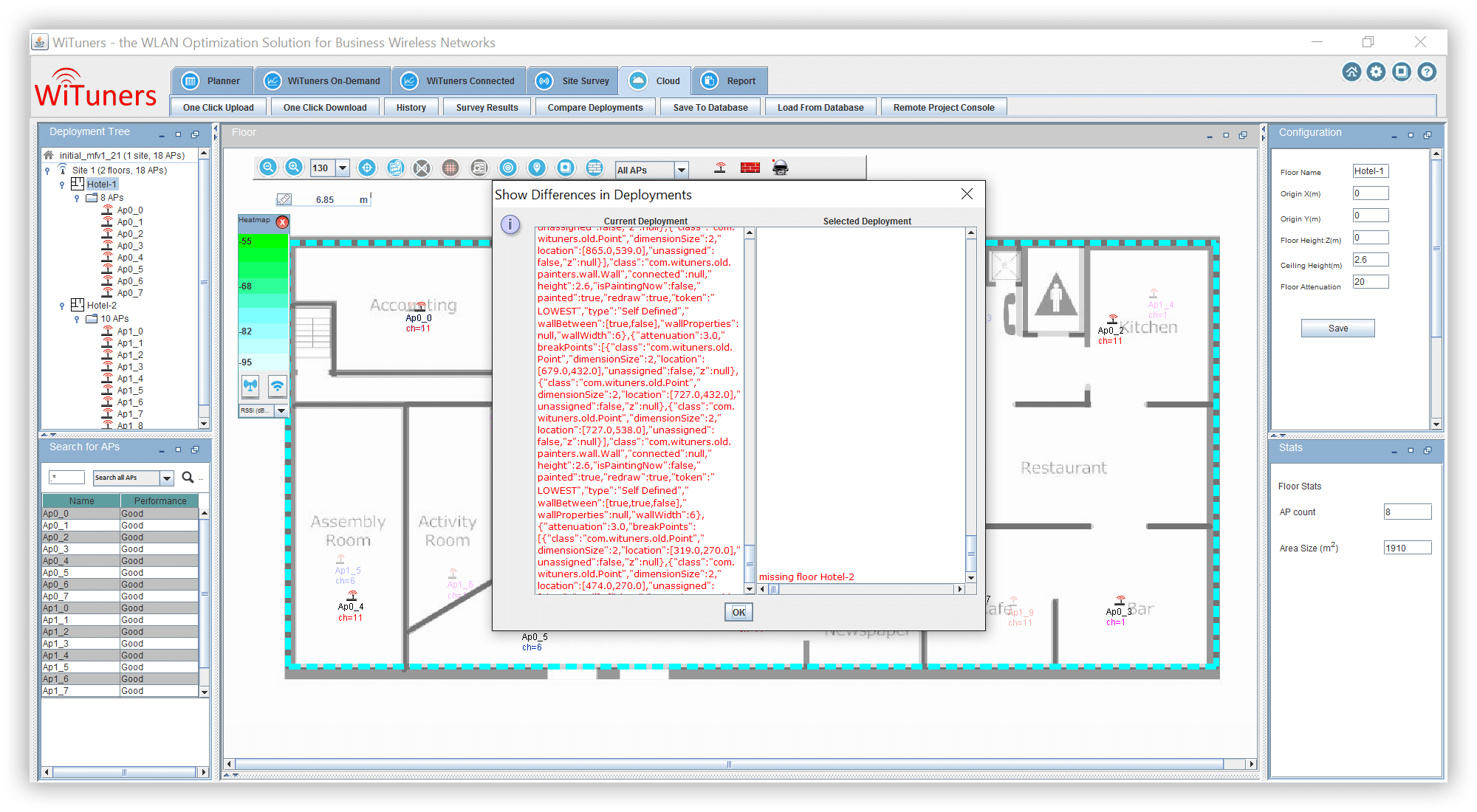 Compare differences in revisions of a deployment plan in WiFi planning software