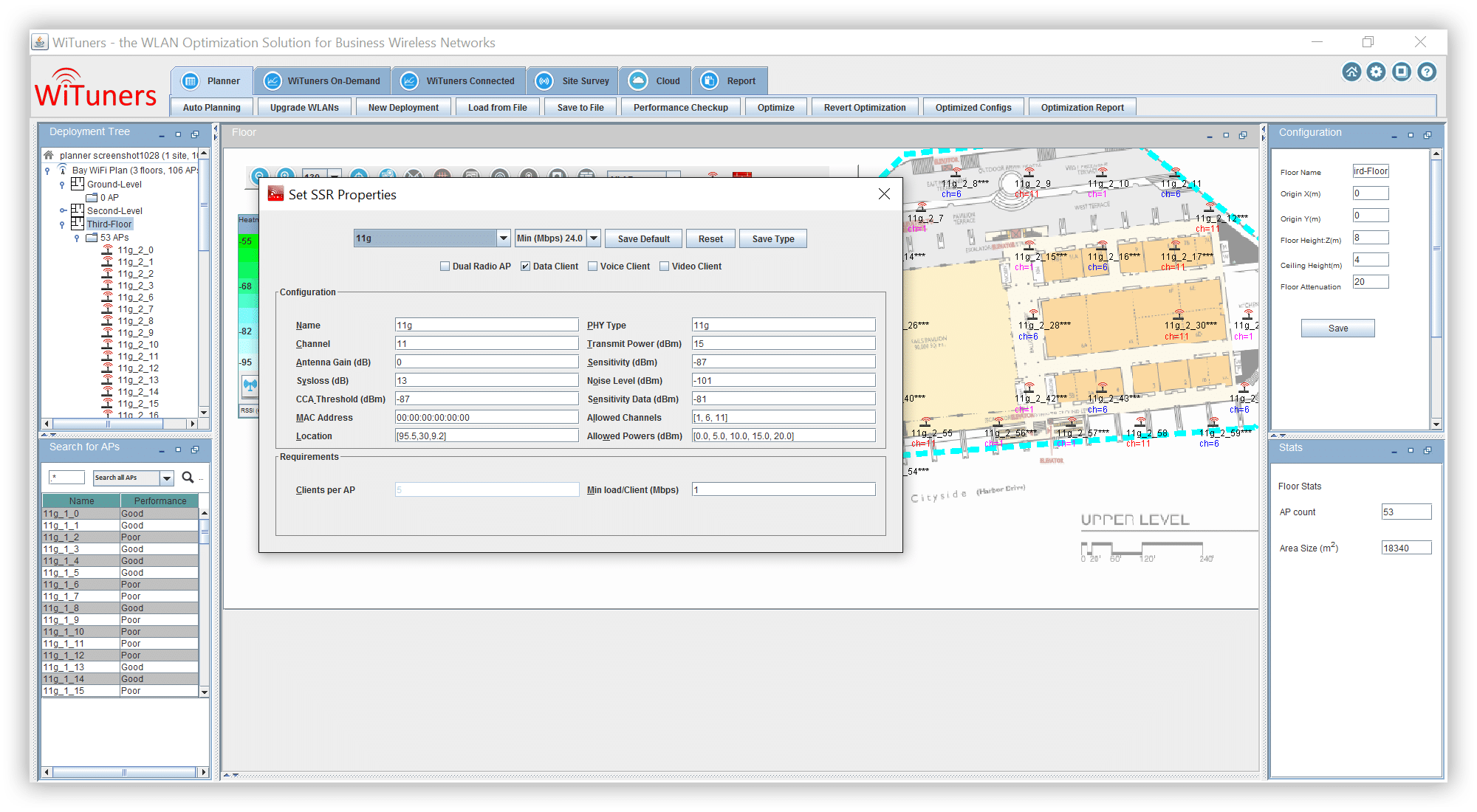 set ssr properties for virtual site survey in WiFi planning software
