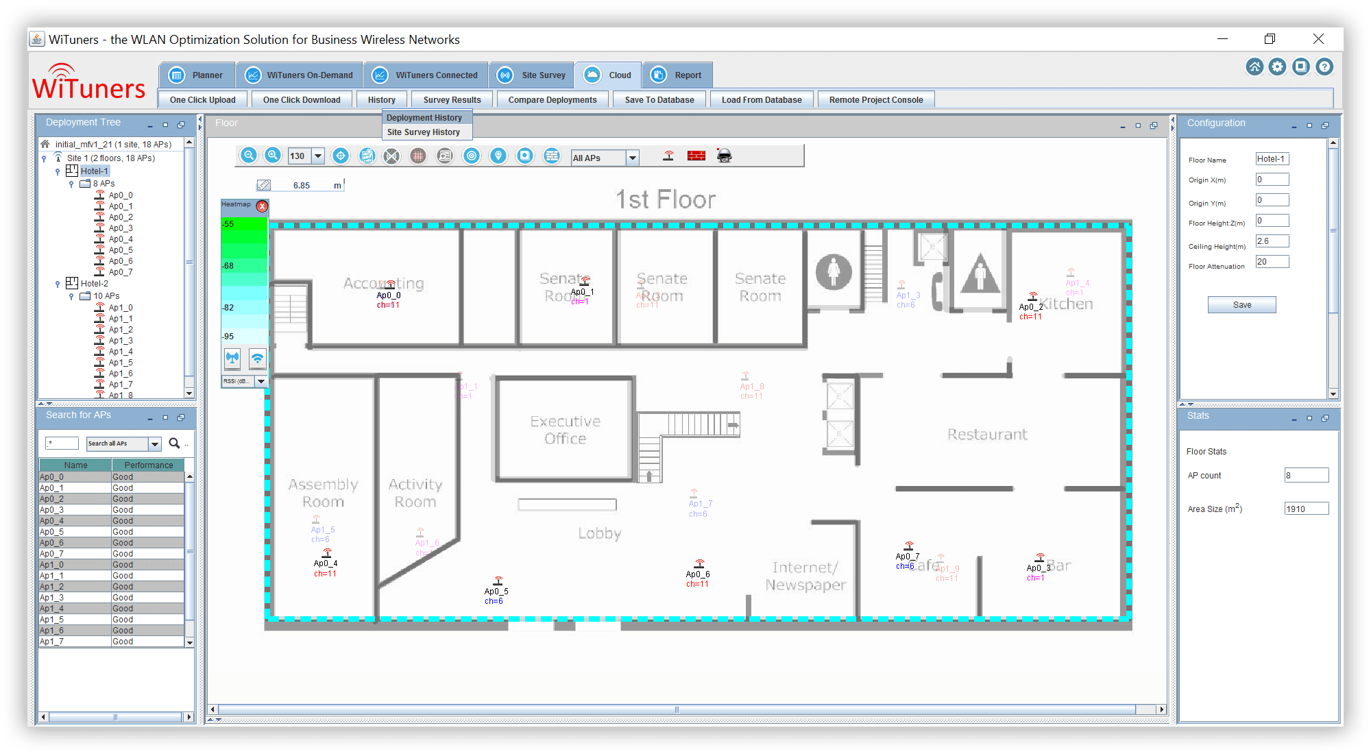 wlan deployment and site survey history in WiFi planning software