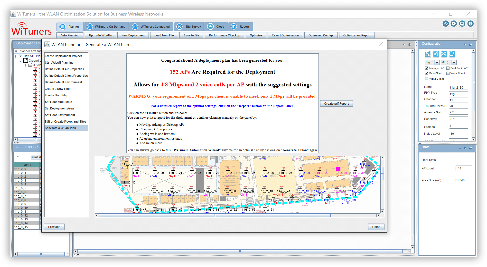 WiFi planning software place the APs, calculate and set the optimal configurations auto planning