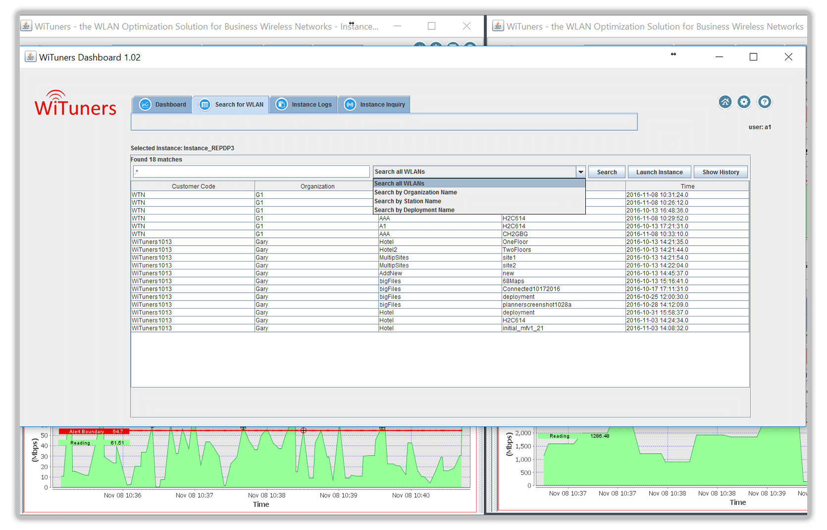 track history for wireless network configuration in managed services software for wifi performance