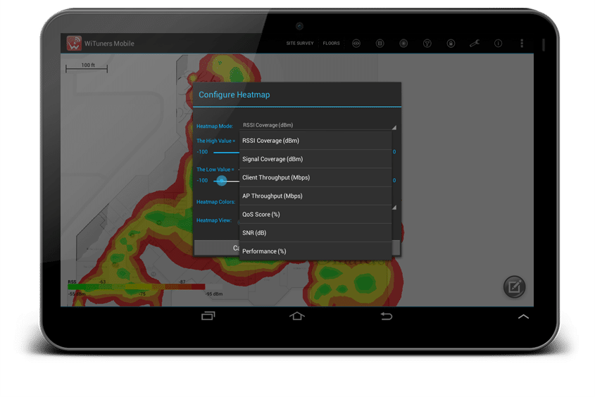WiFi Site Survey Software On Android Tablets WiTuners Mobile - Wireless signal map