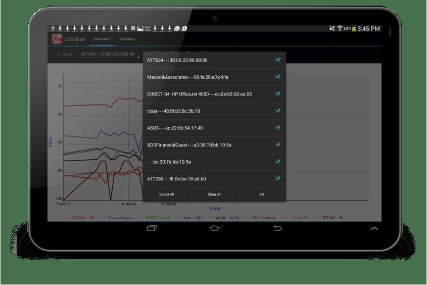 APs list continuous WiFi site survey