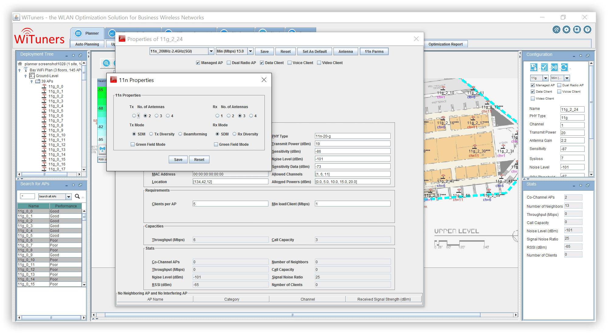 access point 802.11n properties in WiFi planning software