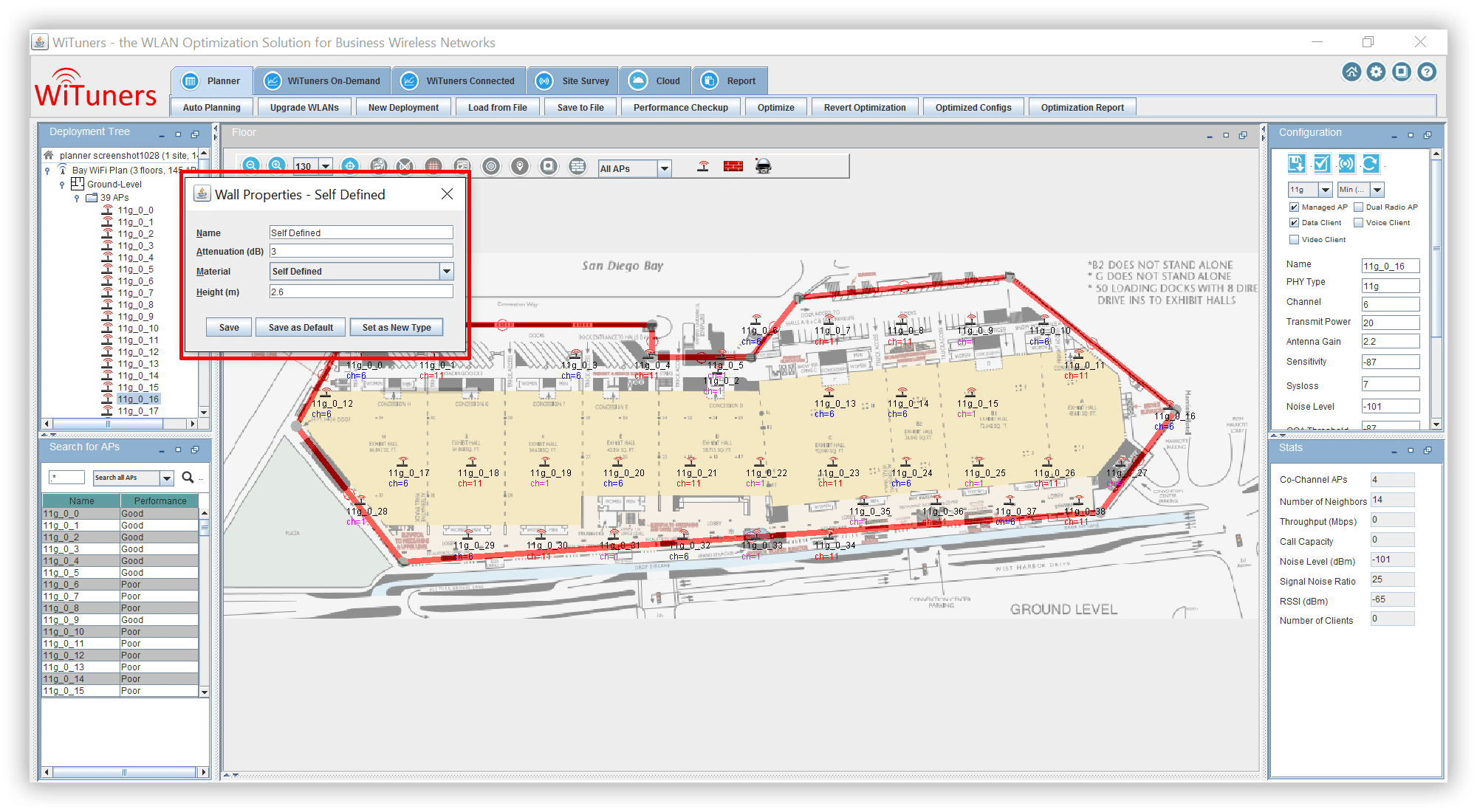define wall proerties for floor map in WiFi planning software