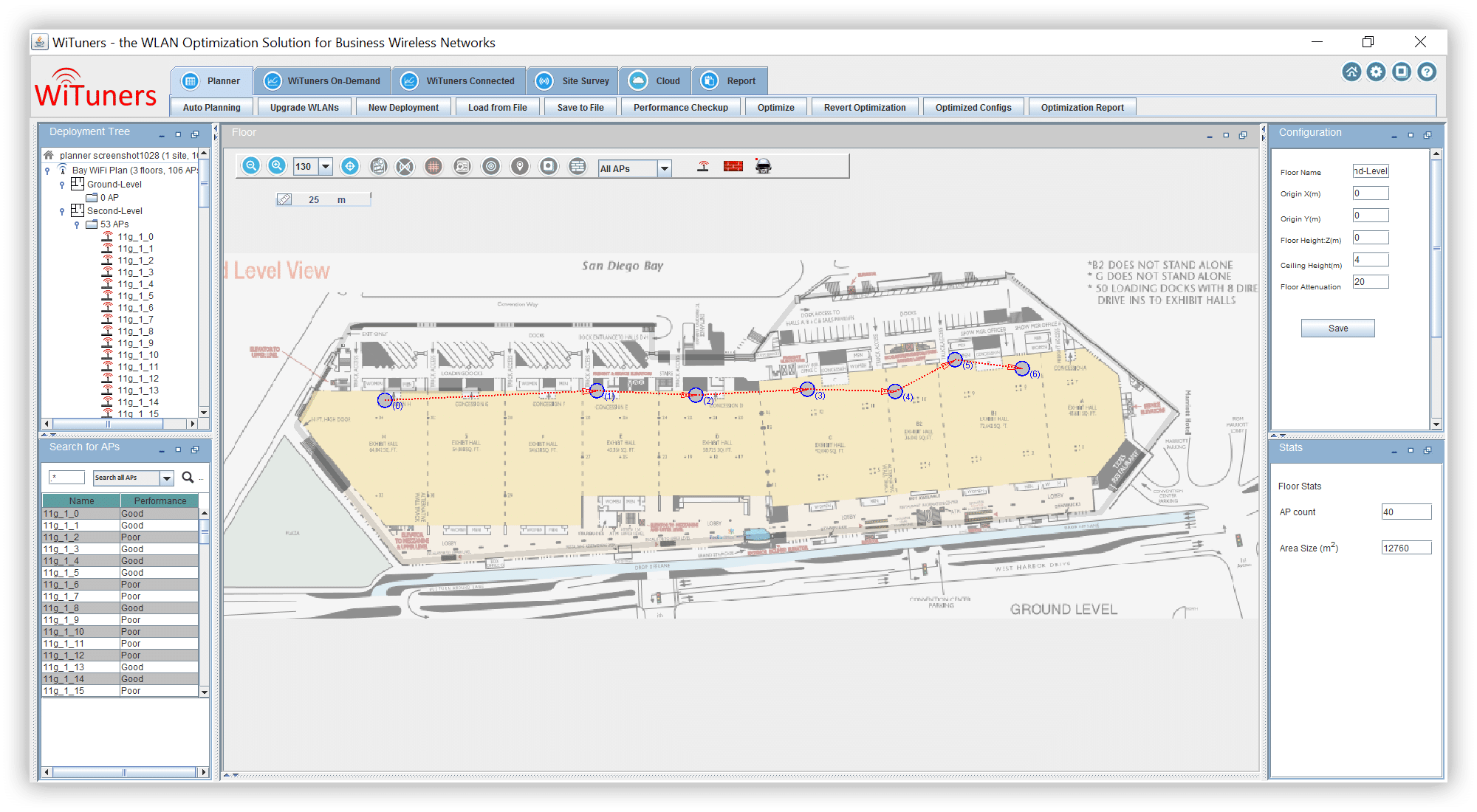 predefine survey point for site survey in WiFi planning software