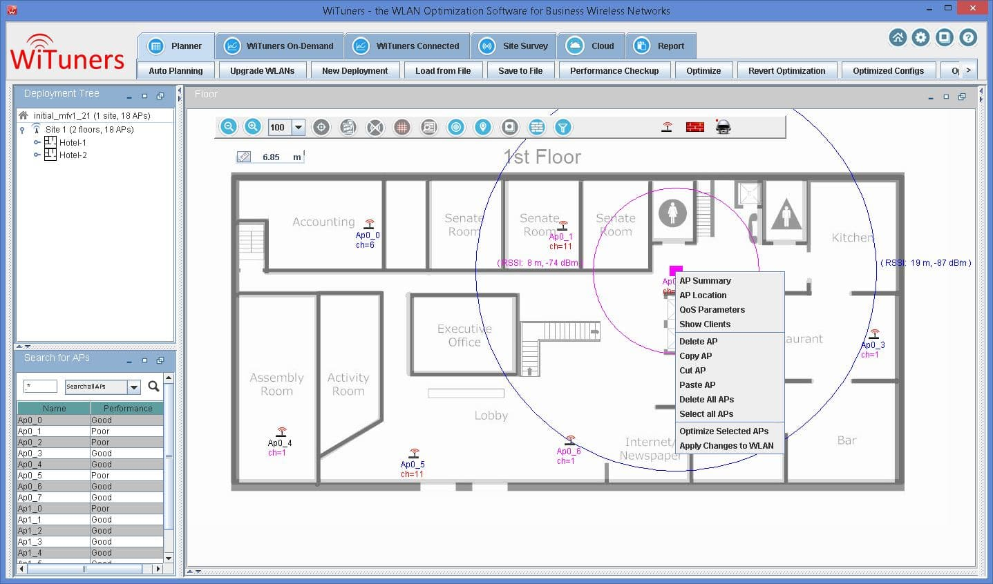 AP placement on multiple floors by WiTuners Planner, the Wi-Fi planning software