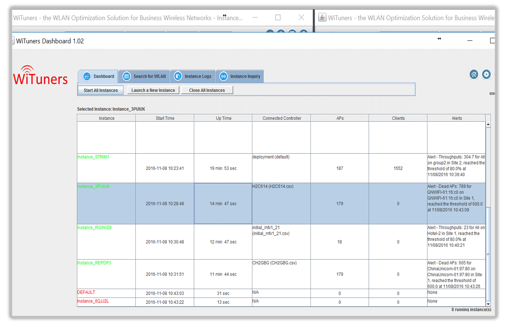WiFi monitoring instances in managed services software for wifi performance