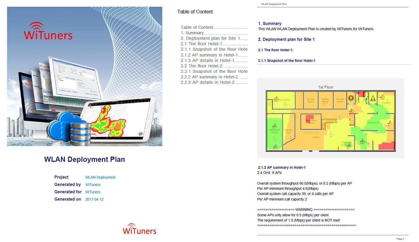 Customized Reports of WLAN Deployment Plan