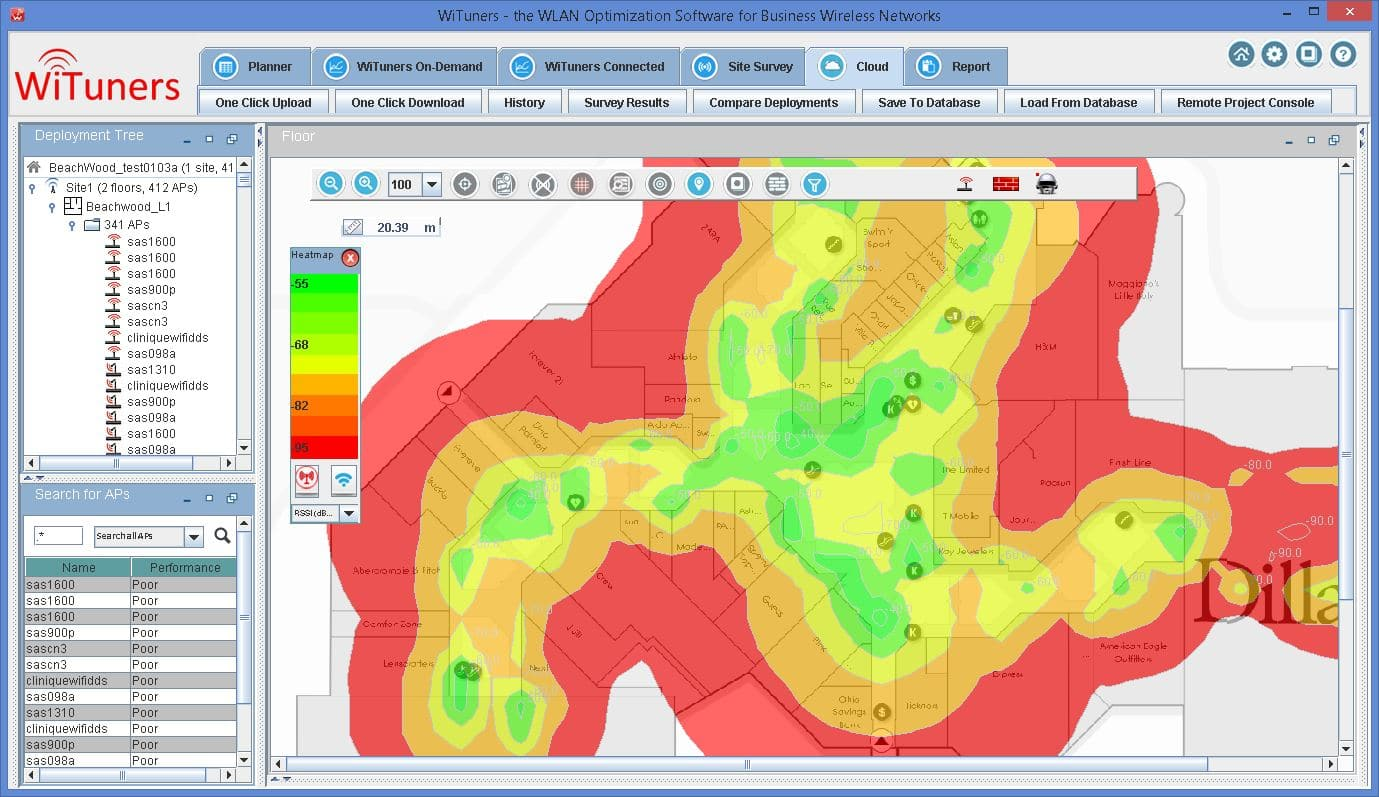 show WiFi heat map and coverage holes by WiTuners Planner, the Wi-Fi planning software