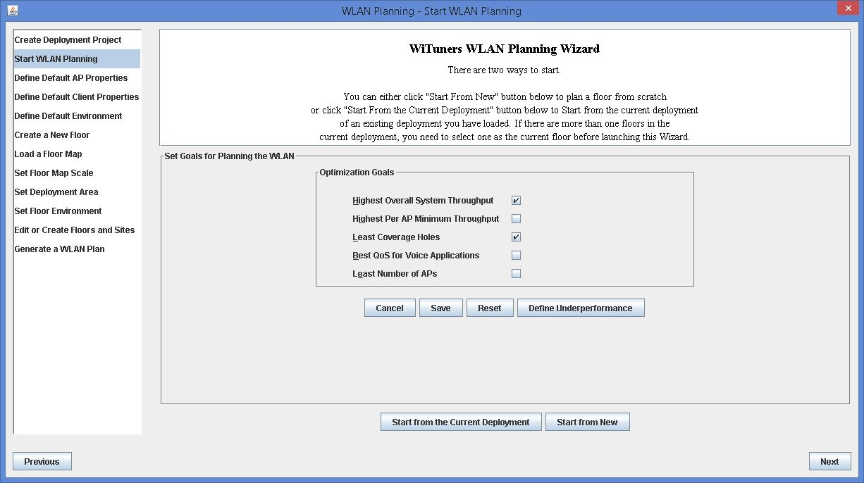 WLAN Planning Auto Wizard in WiTuners Planner, the Wi-Fi planning software
