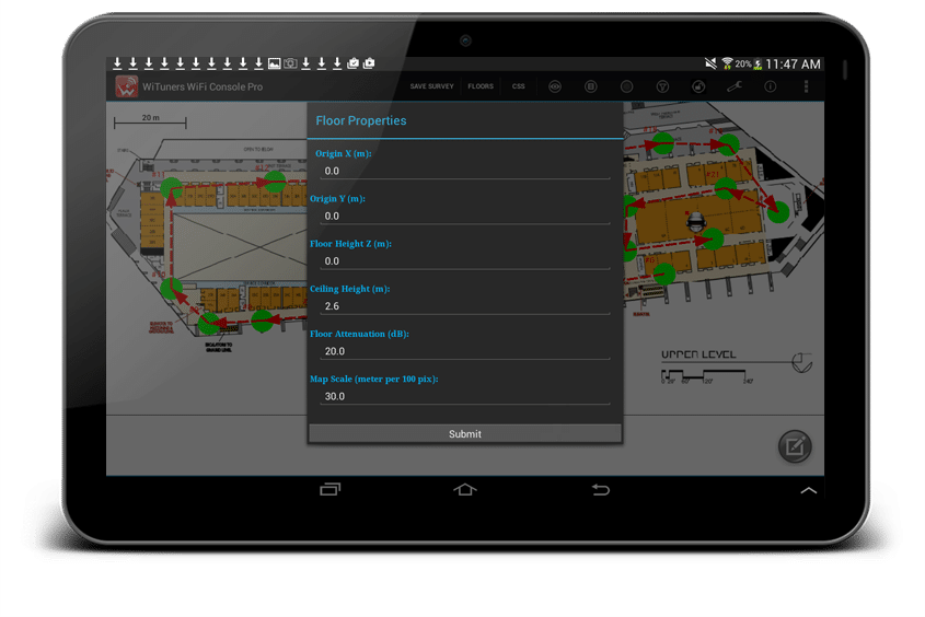 Change floor properties for WiFi site survey